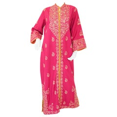 Vintage Moroccan Caftan Hot Pink with Gold, 1970's
