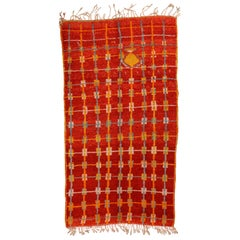 Vintage Moroccan Carpet with Vibrant Red
