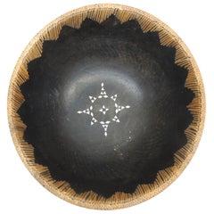 Vintage Asian Carved Wood Bowl