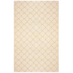 Vintage Moroccan Cream and Brown Wool Rug