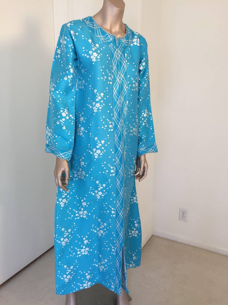 Moorish Vintage Moroccan Designer Kaftan Turquoise Maxi Dress Kaftan Small For Sale