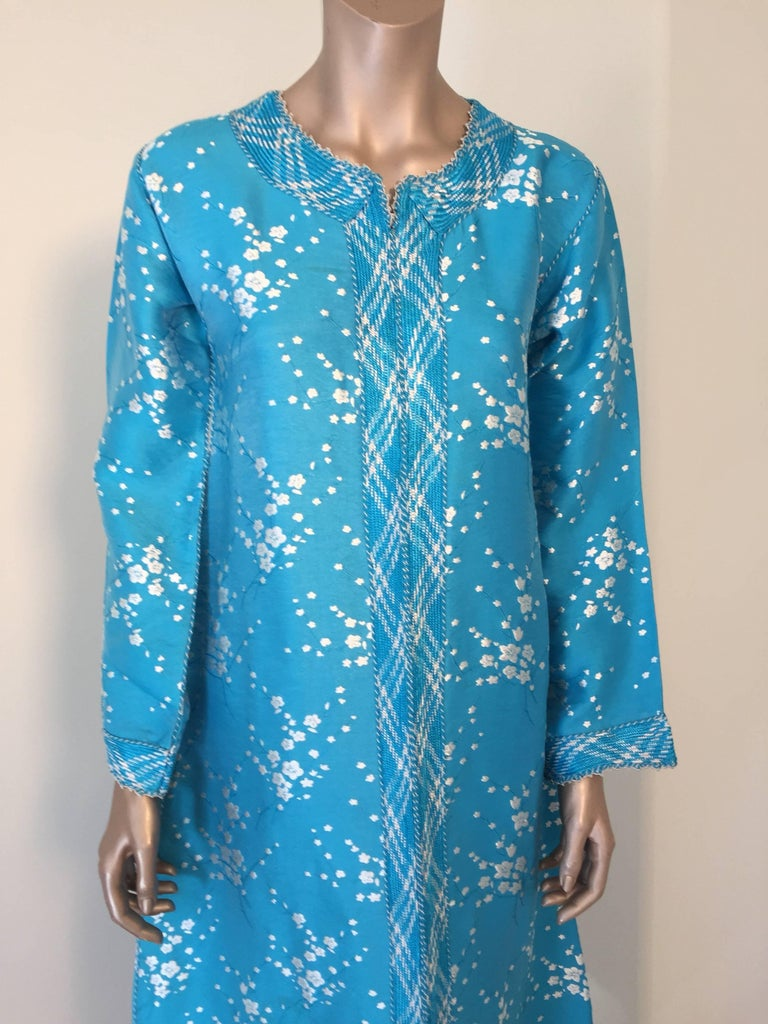 Hand-Crafted Vintage Moroccan Designer Kaftan Turquoise Maxi Dress Kaftan Small For Sale