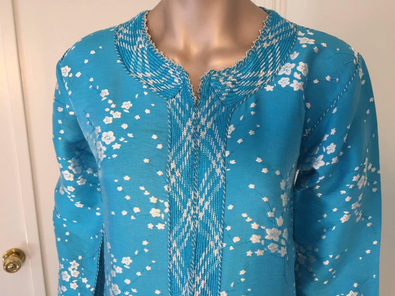 Vintage Moroccan Designer Kaftan Turquoise Maxi Dress Kaftan Small In Good Condition For Sale In North Hollywood, CA