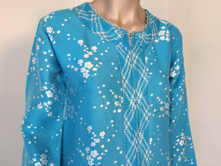 20th Century Vintage Moroccan Designer Kaftan Turquoise Maxi Dress Kaftan Small For Sale