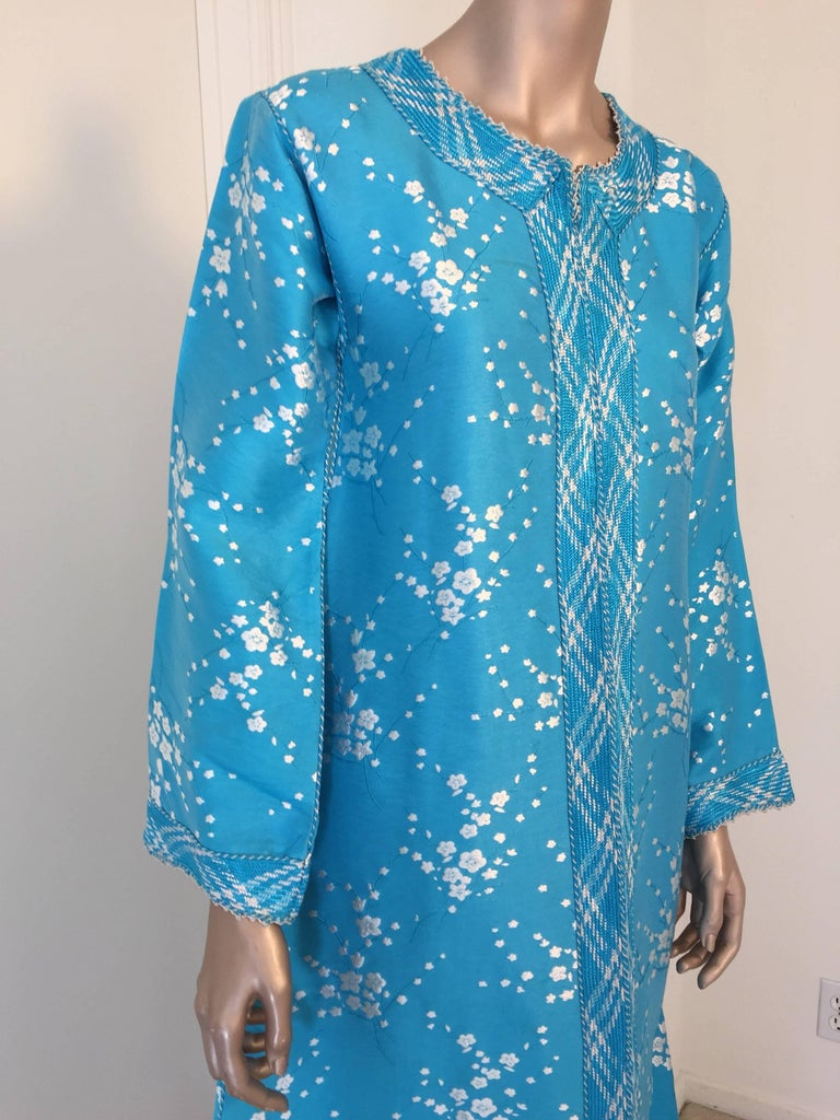 Brocade Vintage Moroccan Designer Kaftan Turquoise Maxi Dress Kaftan Small For Sale