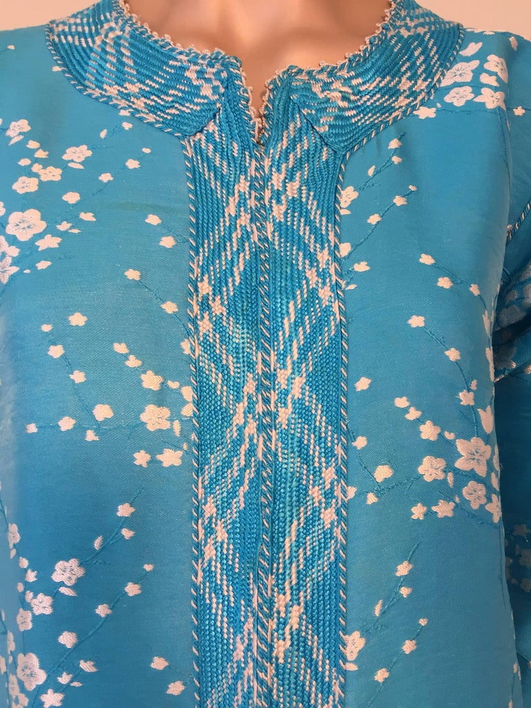 Vintage Moroccan Designer Kaftan Turquoise Maxi Dress Kaftan Small For Sale 1