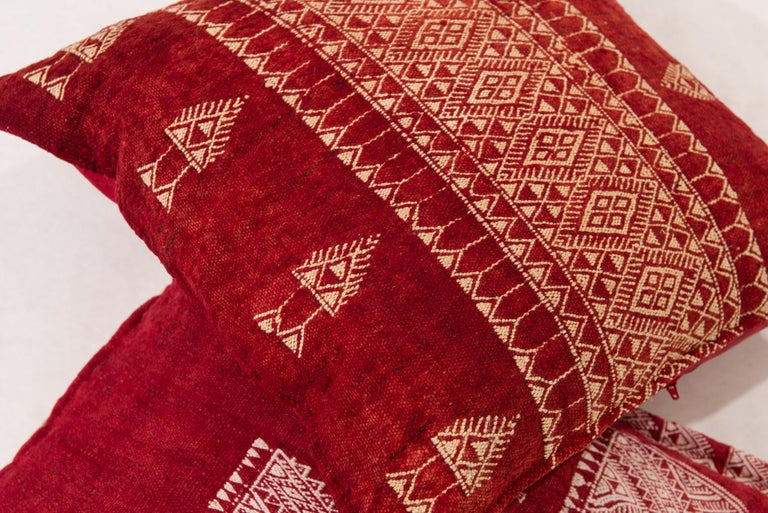Hand-Knotted Vintage Tunisian Embroidered Pillows, Pair For Sale