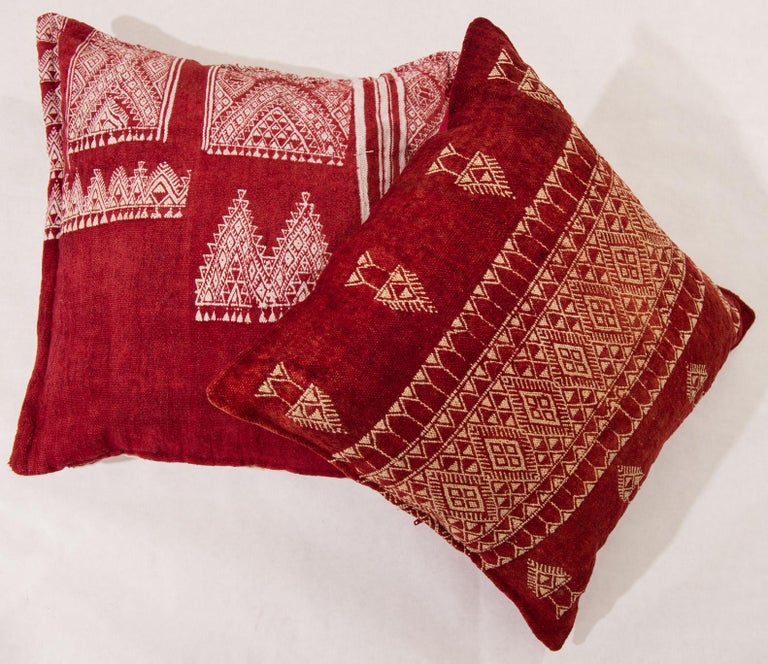 20th Century Vintage Tunisian Embroidered Pillows, Pair For Sale