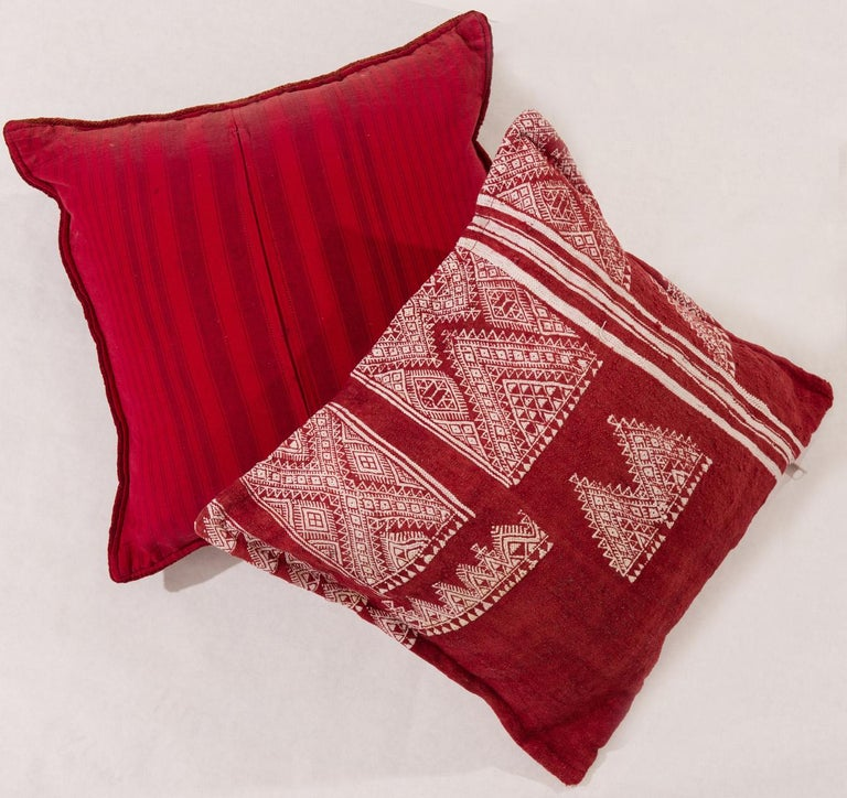 Vintage Tunisian Embroidered Pillows, Pair For Sale 1