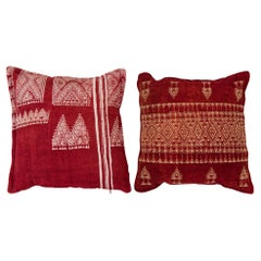 Vintage Tunisian Embroidered Pillows, Pair