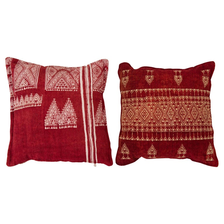 Vintage Tunisian Embroidered Pillows, Pair For Sale