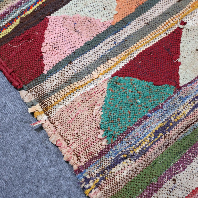 Vintage Moroccan Flat-Weave Boucherouite Rug For Sale 4