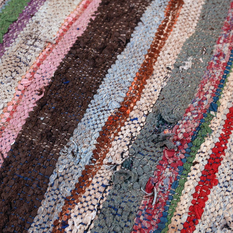 20th Century Vintage Moroccan Flat-Weave Boucherouite Rug For Sale