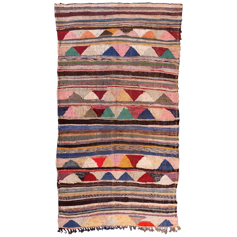 Vintage Moroccan Flat-Weave Boucherouite Rug For Sale