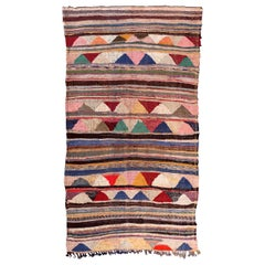 Vintage Moroccan Flat-Weave Boucherouite Rug