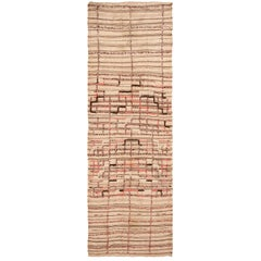 Vintage Moroccan Flat-Weave Rug. Size: 5 ft 3 in x 14 ft 10 in (1.6 m x 4.52 m)
