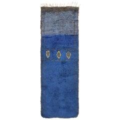 Vintage Moroccan Geometric Blue Fabric Runner