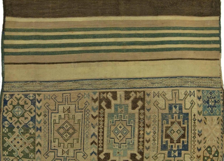 Vintage Moroccan geometric green, brown and beige handmade wool Kilim rug