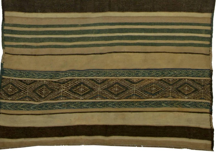 Hand-Knotted Vintage Moroccan Geometric Green, Brown and Beige Handmade Wool Kilim Rug For Sale