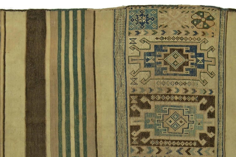 Vintage Moroccan Geometric Green, Brown and Beige Handmade Wool Kilim Rug In Good Condition For Sale In New York, NY