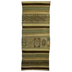 Vintage Moroccan Geometric Green, Brown and Beige Handmade Wool Kilim Rug
