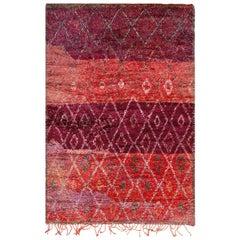 Vintage Moroccan Geometric Purple Rug