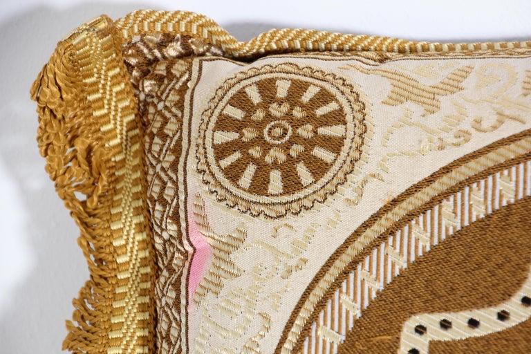 Moorish Vintage Moroccan Gold Bolster Lumbar Decorative Pillow For Sale