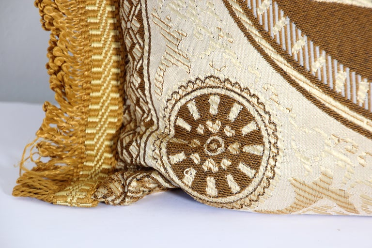 Hand-Crafted Vintage Moroccan Gold Bolster Lumbar Decorative Pillow For Sale