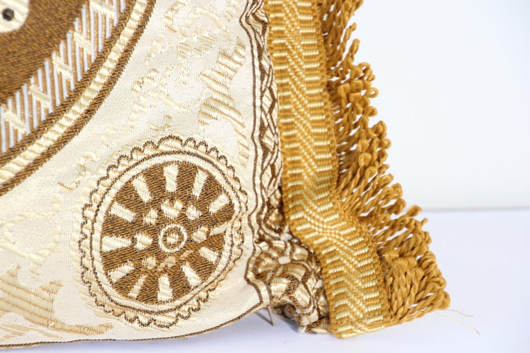 Vintage Moroccan Gold Bolster Lumbar Decorative Pillow In Fair Condition For Sale In North Hollywood, CA