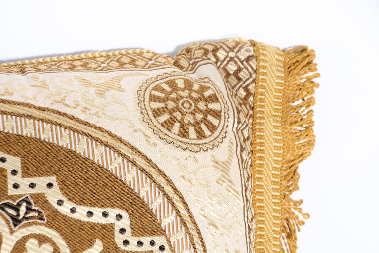 Late 20th Century Vintage Moroccan Gold Bolster Lumbar Decorative Pillow For Sale