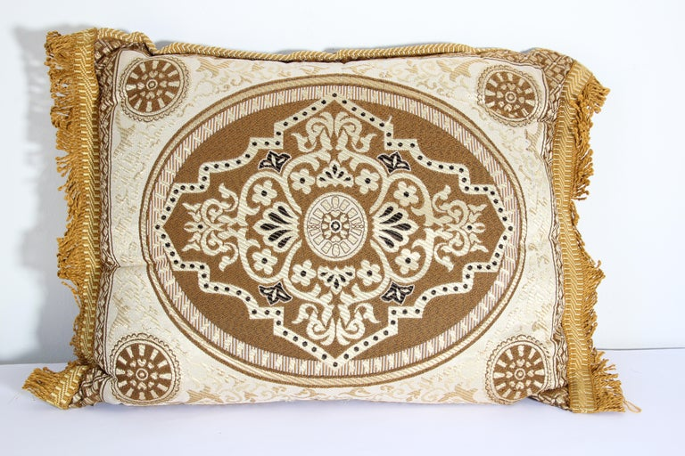Fabric Vintage Moroccan Gold Bolster Lumbar Decorative Pillow For Sale