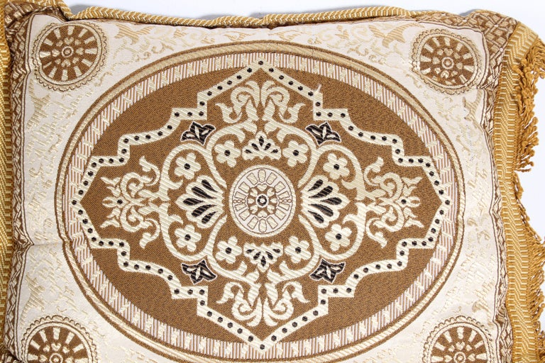 Vintage Moroccan Gold Bolster Lumbar Decorative Pillow For Sale 1