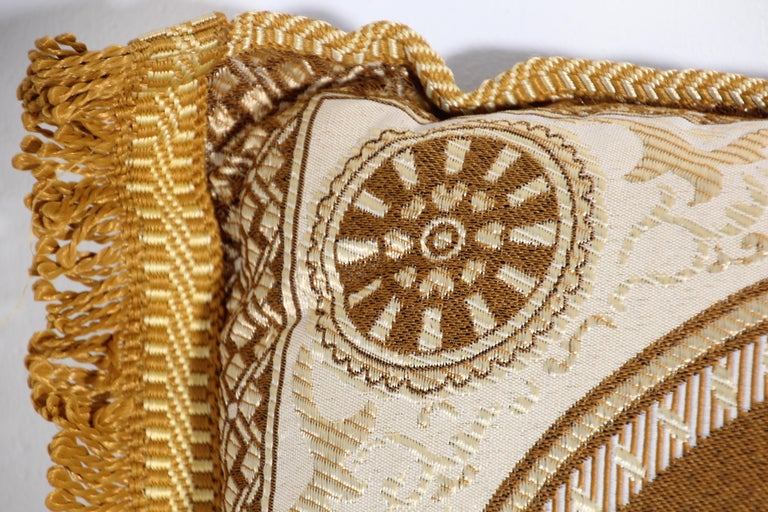 Vintage Moroccan Gold Bolster Lumbar Decorative Pillow For Sale 2