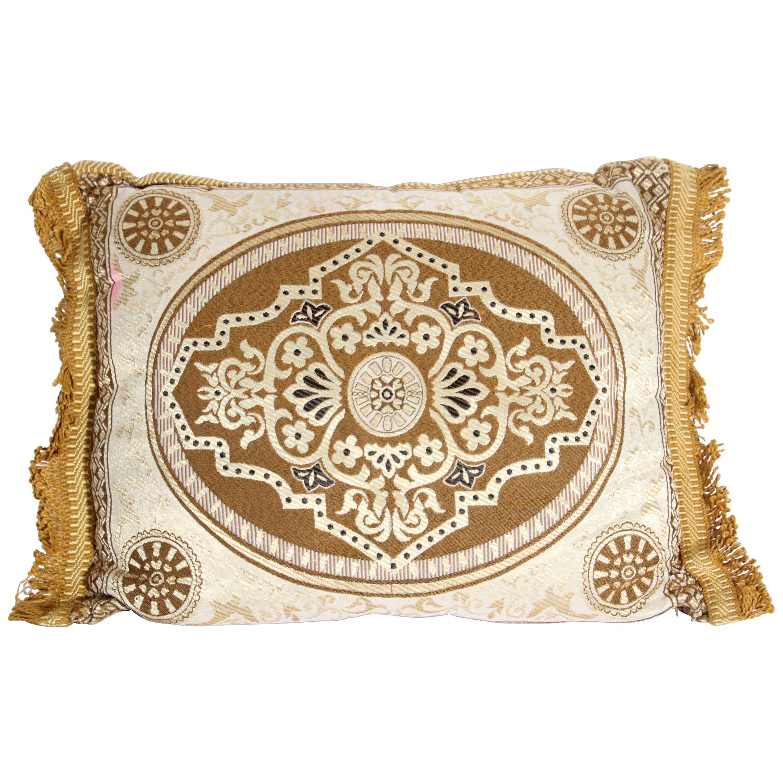 Vintage Moroccan Gold Bolster Lumbar Decorative Pillow