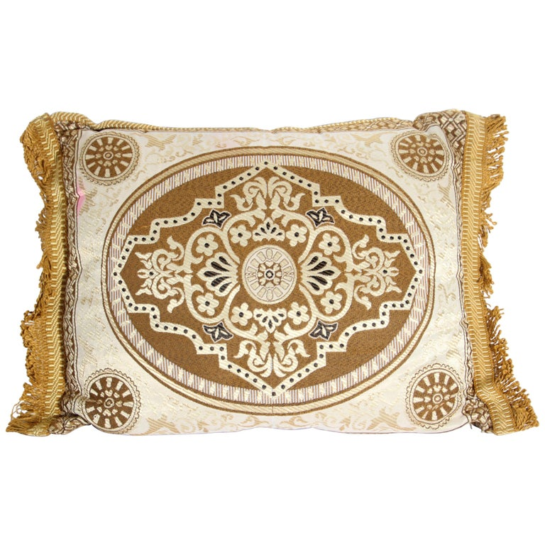 Vintage Moroccan Gold Bolster Lumbar Decorative Pillow For Sale