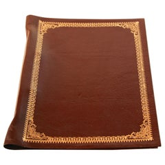 Vintage Moroccan Hand Tooled Leather Brown Portfolio