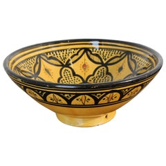 Vintage Moroccan Handcrafted Ceramic Yellow Bowl