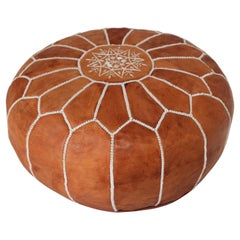 Vintage Moroccan Handcrafted Leather Brown Ottoman