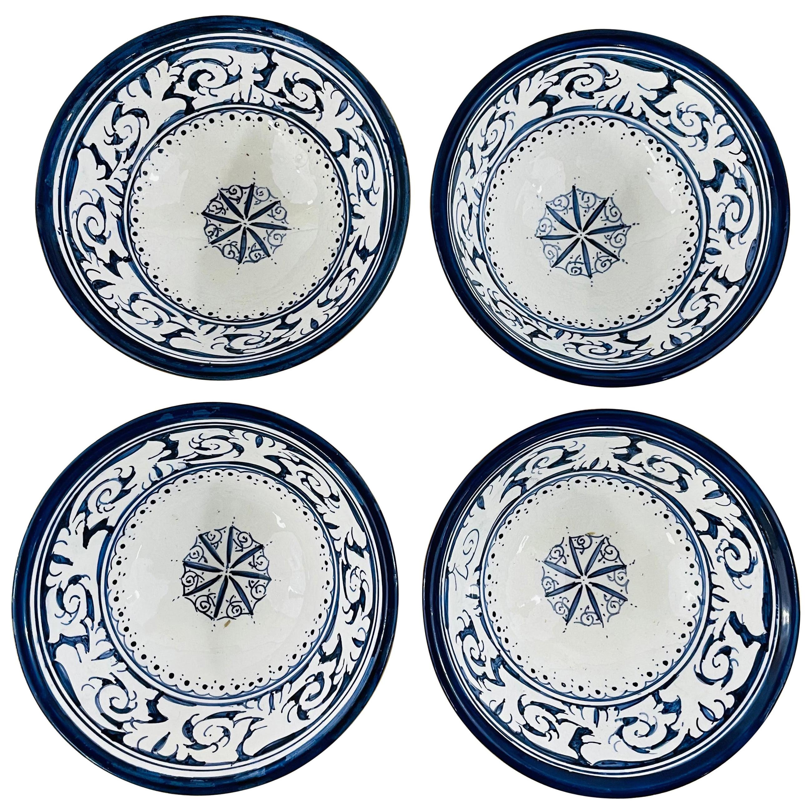 Vintage Moroccan Handmade Pottery Bowl, Set of Four