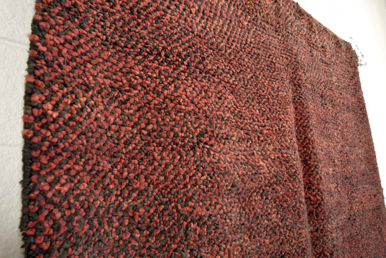 Late 20th Century Vintage Moroccan Handwoven Berber Tribal Deep Red Wool Floor Rug For Sale