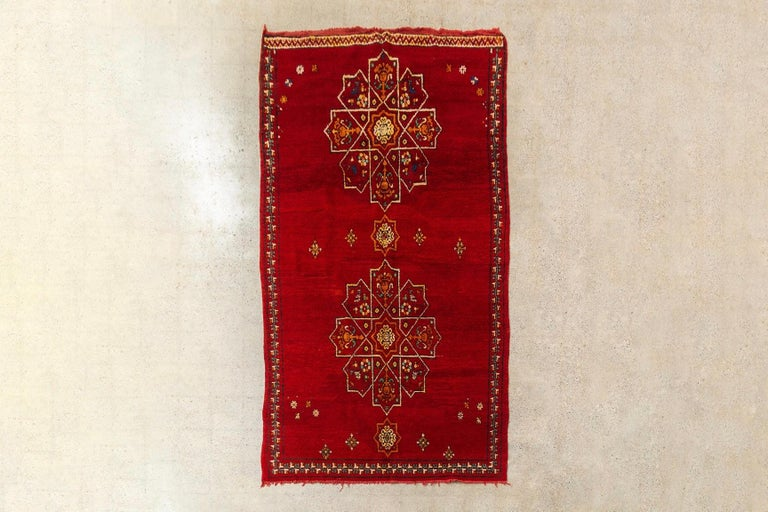 Vintage Moroccan Handwoven Berber Tribal Red Wool Floor Rug For Sale 5