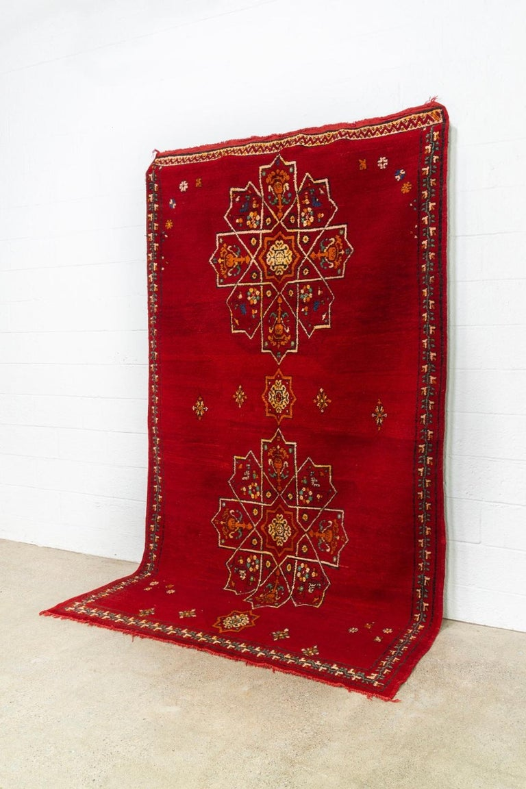 Hand-Woven Vintage Moroccan Handwoven Berber Tribal Red Wool Floor Rug For Sale