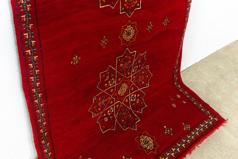 Vintage Moroccan Handwoven Berber Tribal Red Wool Floor Rug For Sale 1