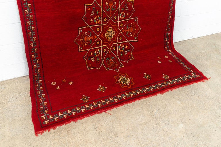 Vintage Moroccan Handwoven Berber Tribal Red Wool Floor Rug For Sale 2