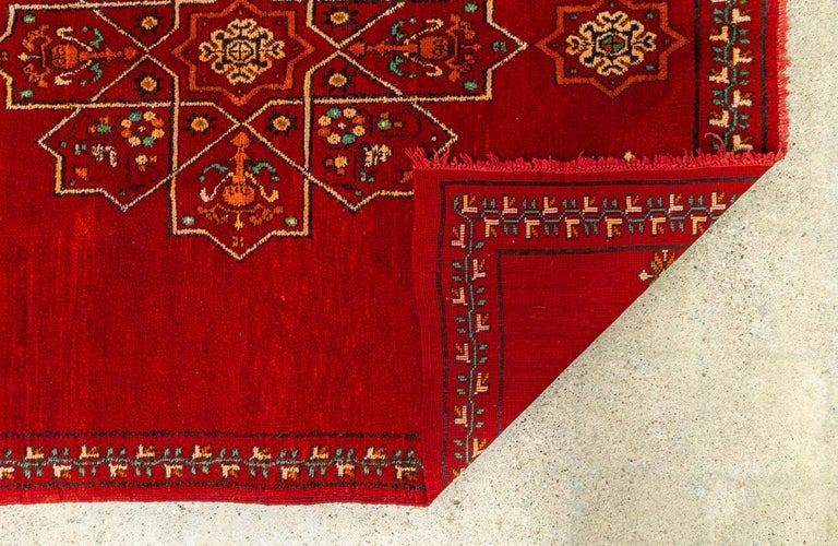 Vintage Moroccan Handwoven Berber Tribal Red Wool Floor Rug For Sale 4