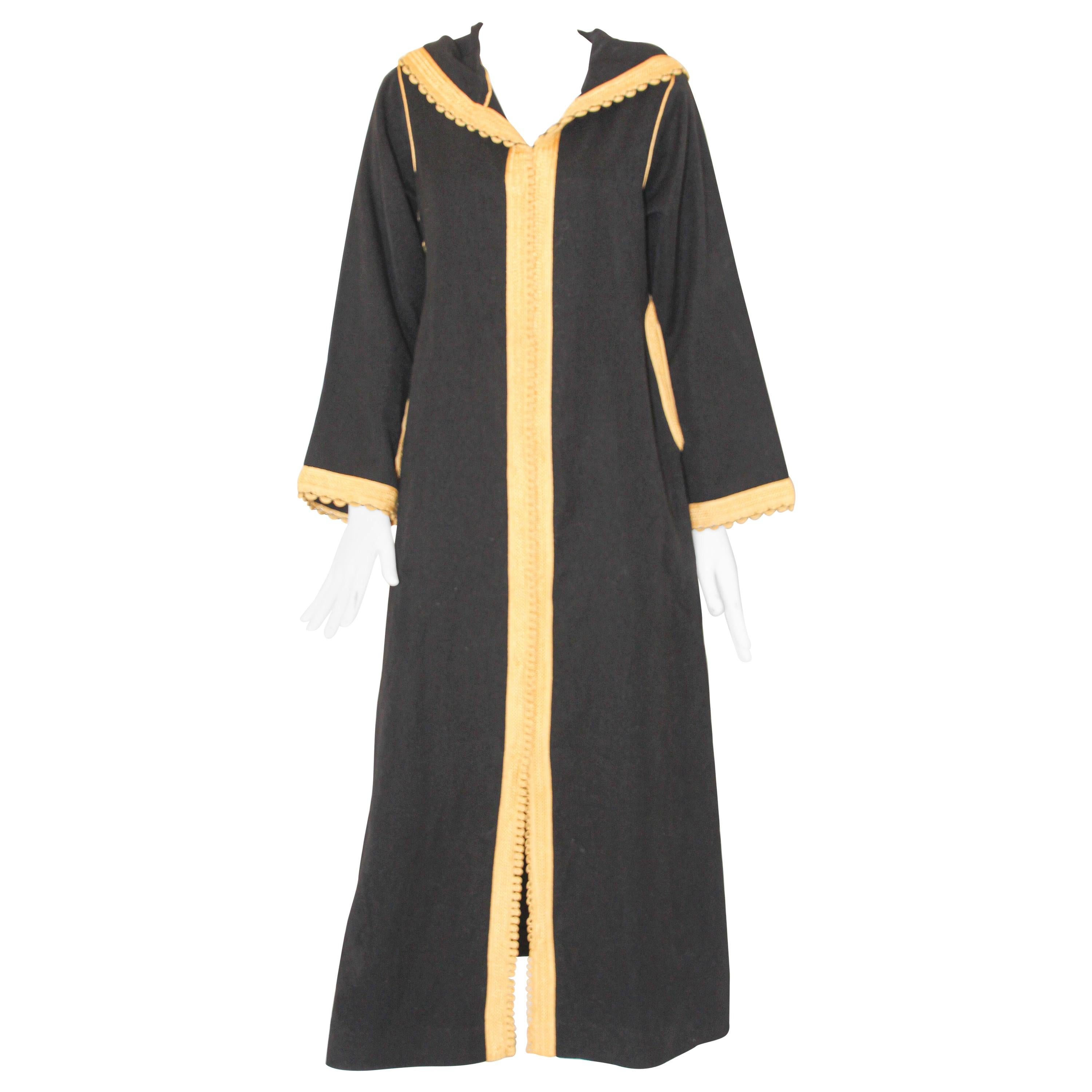 Vintage Moroccan Caftan, Hooded Black and Gold Trim Kaftan Circa 1970's