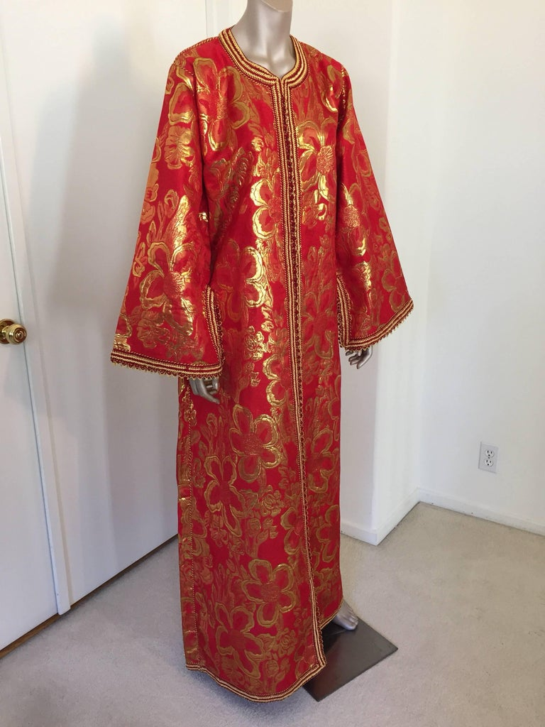 Moorish Vintage Moroccan Kaftan 1970s Red and Gold Floral Brocade Caftan Maxi Dress For Sale