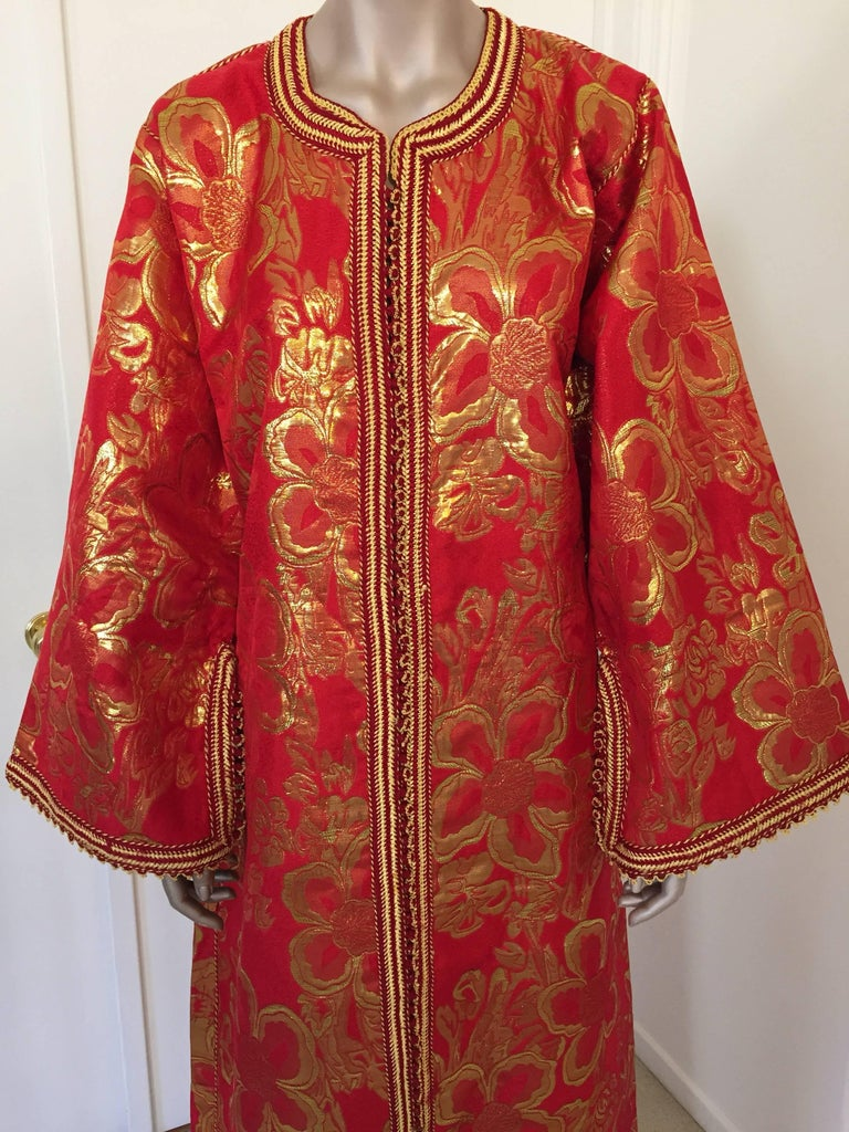 Embroidered Vintage Moroccan Kaftan 1970s Red and Gold Floral Brocade Caftan Maxi Dress For Sale