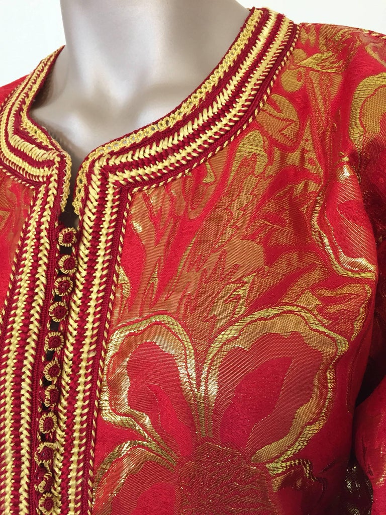 20th Century Vintage Moroccan Kaftan 1970s Red and Gold Floral Brocade Caftan Maxi Dress For Sale