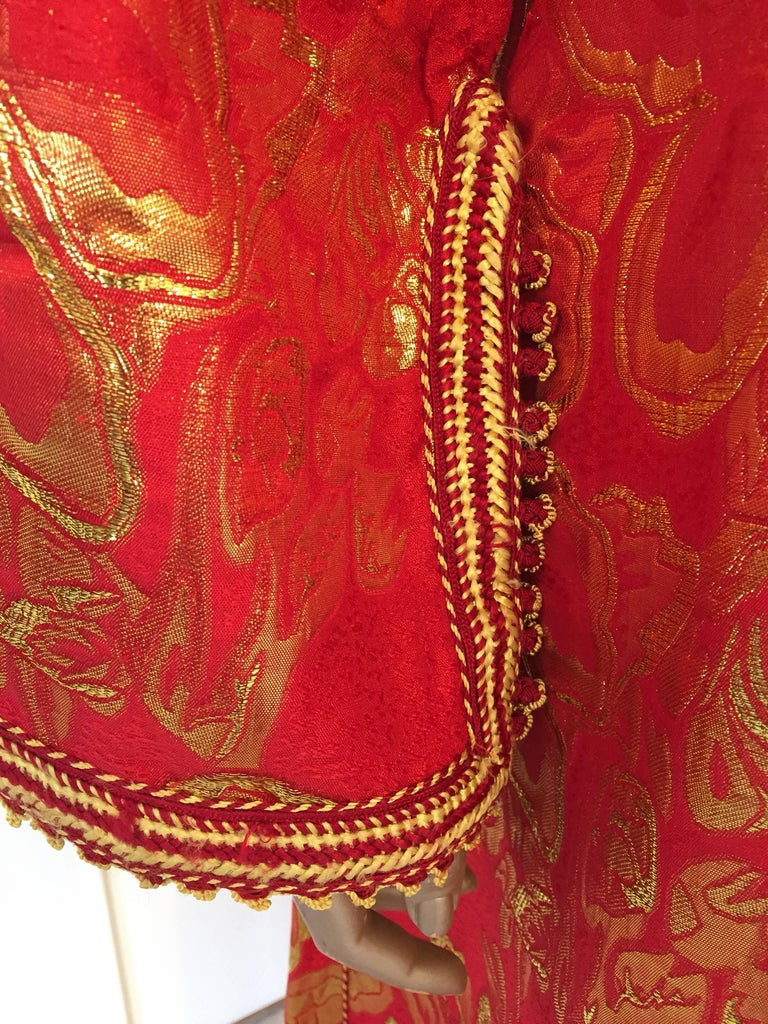 Vintage Moroccan Kaftan 1970s Red and Gold Floral Brocade Caftan Maxi Dress For Sale 1